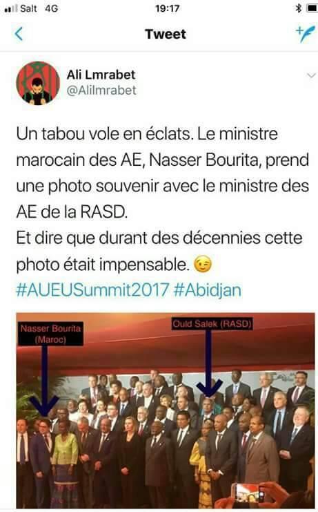 Le MAE marocain Bourita et le MAE sahraoui sur la même photo