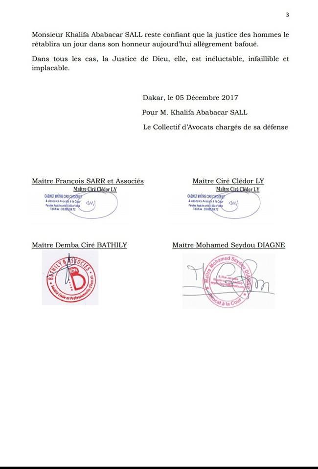 Les avocats de l'Etat rejettent la caution de Khalifa Sall, « un coup d'épée dans l'eau… »