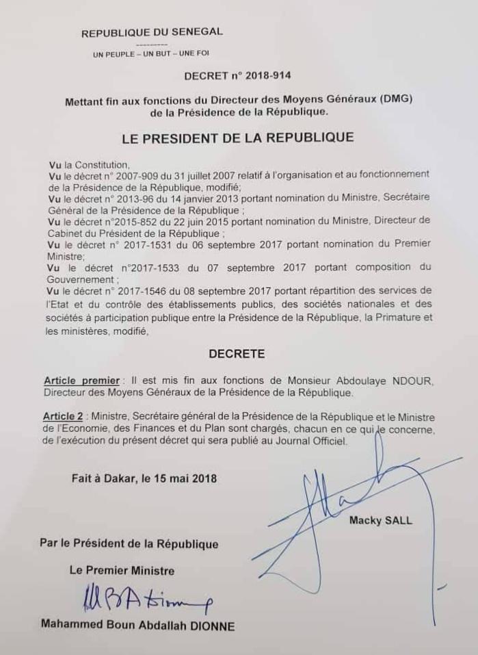 Abdoulaye Ndour, Dage de la présidence, limogé pour s'être prononcé sur l'affaire du capitaine Mamadou Dièye