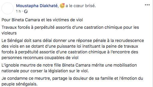 """Viols en série : Moustapha Diakhaté prône la """"castration chimique"""" des violeurs"""