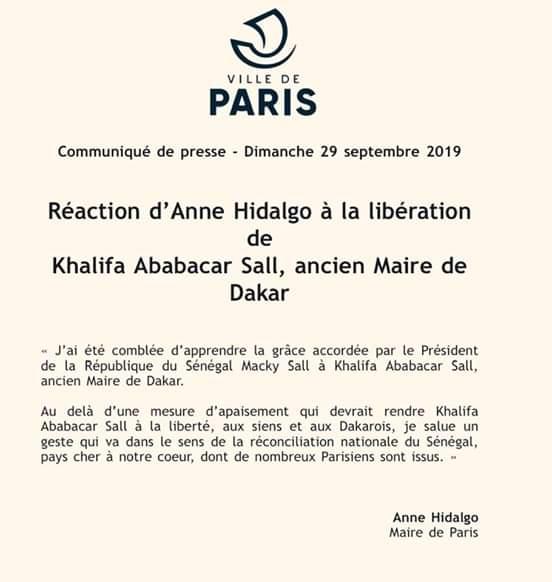 Libération de Khalifa Sall : Le maire de Paris Anne Hidalgo exprime sa joie