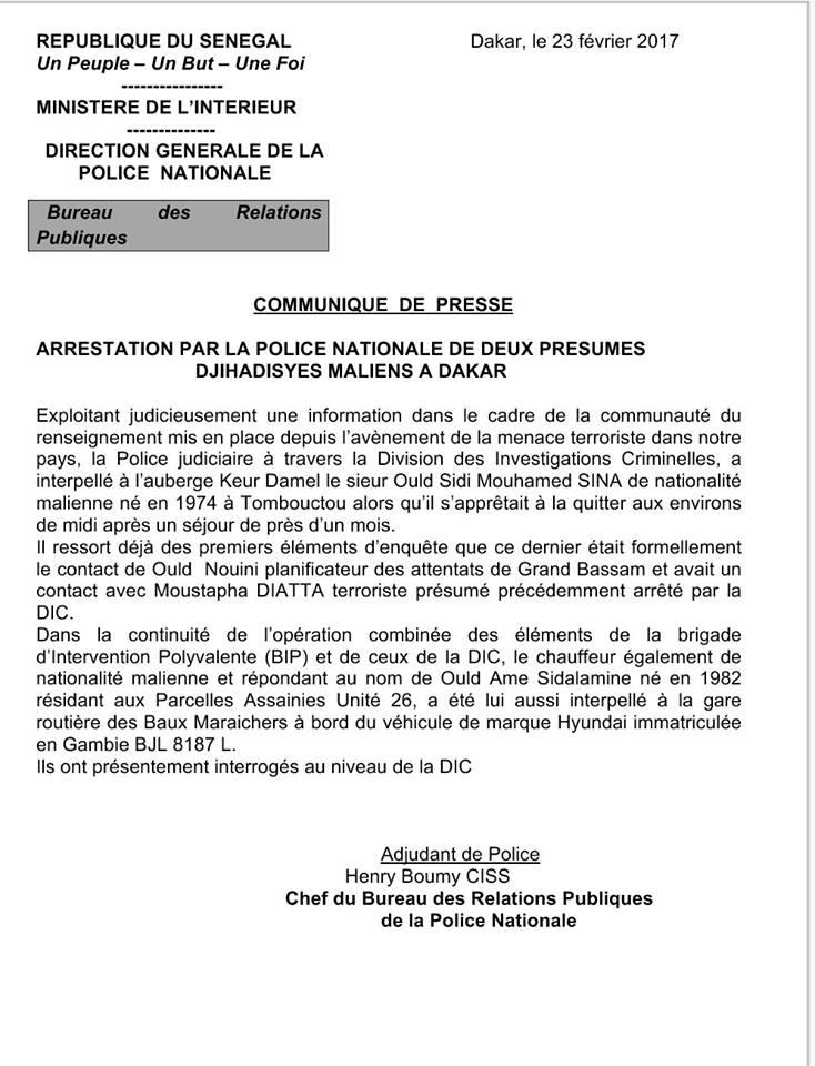 Urgent: Deux djihadistes maliens en contact avec le cerveau des attentats de Bassam arrêtés à Dakar