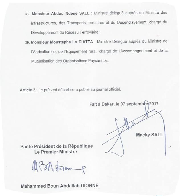 Voici la liste du gouvernement Dionne II