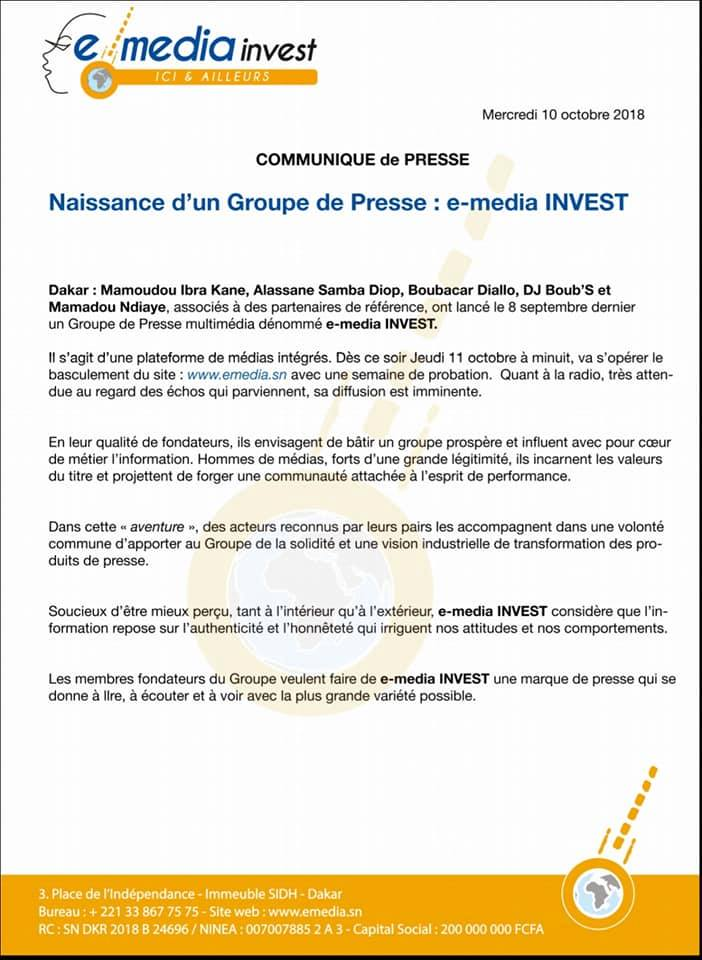 Le groupe E-Médias Invest de Mamoudou Ibra Kane officiellement lancé