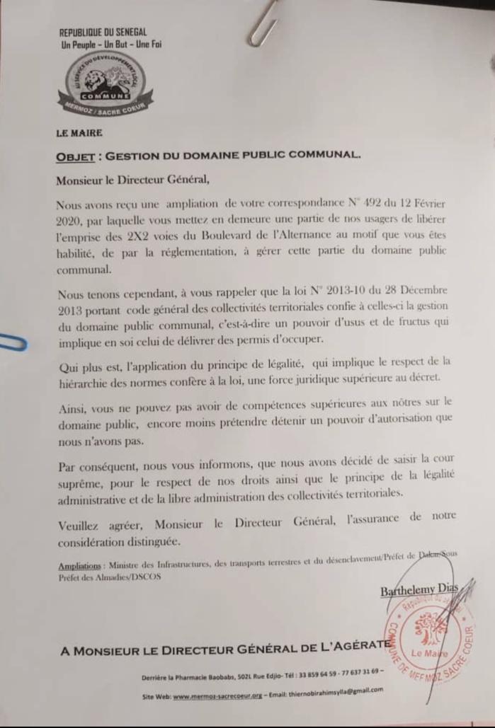 Le maire Barthélémy Dias traîne l'Ageroute devant la cour suprême. (Document)